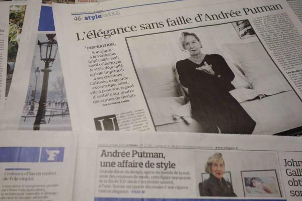 フランスデザイン界の偉大な貴婦人、アンドレ・プットマンが永眠されました。