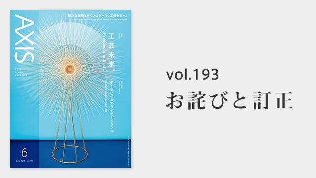 お詫びと訂正  デザイン誌「AXIS」2018年6月号
