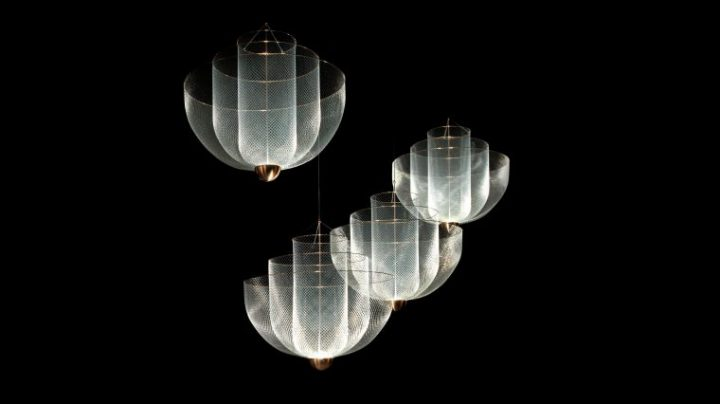 オランダ発「moooi」によるタンポポのようなペンダントライト 「Meshmatics Chandelier」が発表