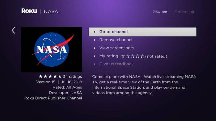 米・ストリーミング端末市場シェア一位の「Roku」にNASAチャンネルが開設