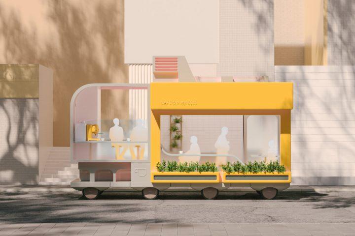 未来はオフィスも店舗も空間ごと移動する!? イケアの研究機関「SPACE10」が描く 「Spaces on Wheels」