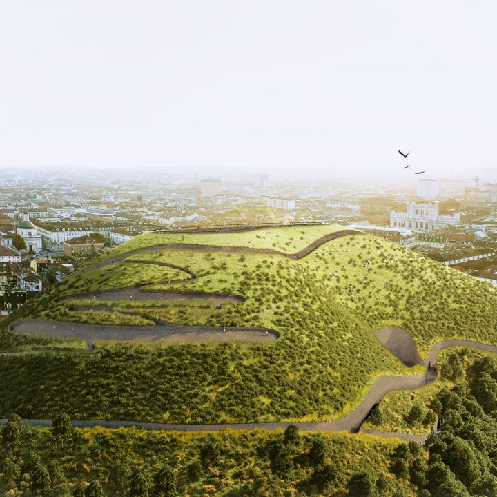 アムステルダムの建築家Angelo Rennaによる CO2を吸収する人工の山を築く提案「Sponge Mountain」