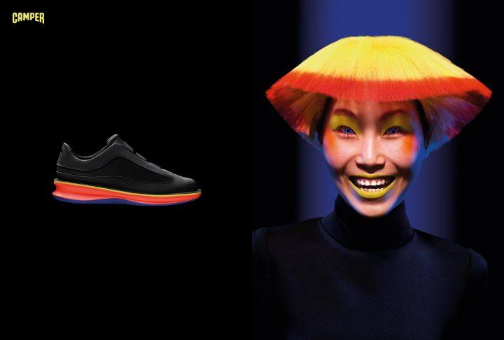 シューズブランド CAMPER 「SHOHEI」のランウェイで斬新なデザインのシューズを提供