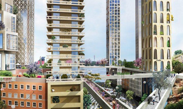 ストックホルム発、レンガ造りの低層階に木造の高層階を積み重ねた新街区。設計はAnders Berensson Archit…