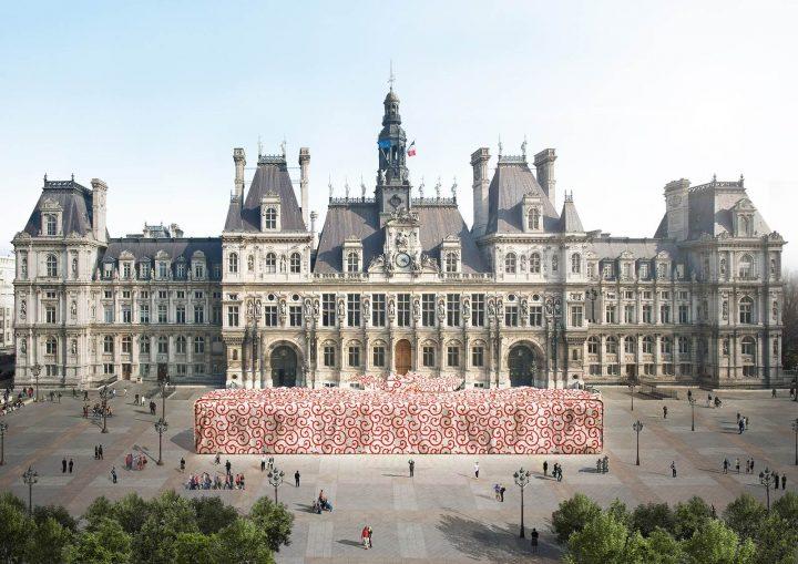 建築家・田根剛による風呂敷包みの贈り物 インスタレーション「Furoshiki Paris」がパリ市庁舎前広場で開催