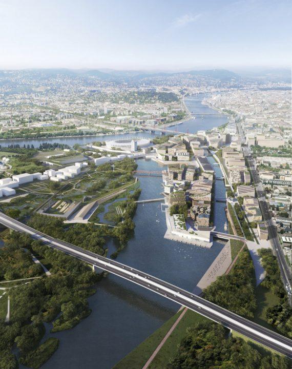 """オスロの建築事務所スノヘッタによる """"水""""をテーマにした「Budapest South Gate」"""