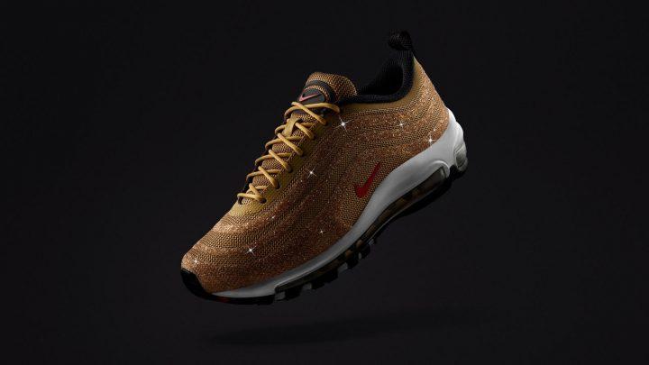 Nike Air Max 97 LXの新作が登場 スワロフスキーが輝くゴールドのシューズ