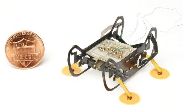 逆さまでも落下しないマイクロロボットが開発中 電子吸着フットパッドで導電性表面の歩行を可能に