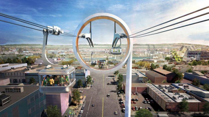 BIGが手がけるMLB オークランド・アスレチックスの新球場 球場に向かうゴンドラのデザイン案が公開