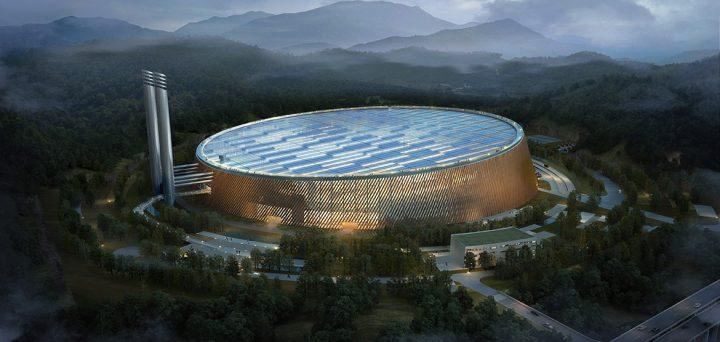 デンマークの建築事務所が共同で手がける 円形が特徴的な「深圳東部廃棄物発電所」(中国・深圳)