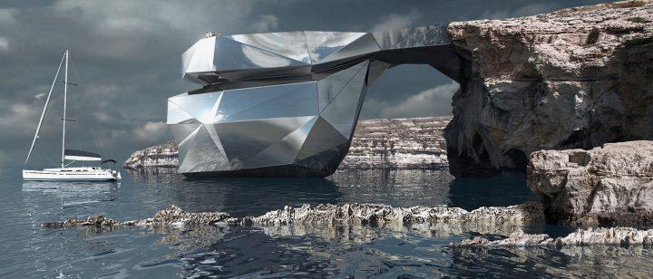 マルタ島の新建築「THE HEART OF MALTA」が公開 崩壊した天然橋を復活させる多面構造物
