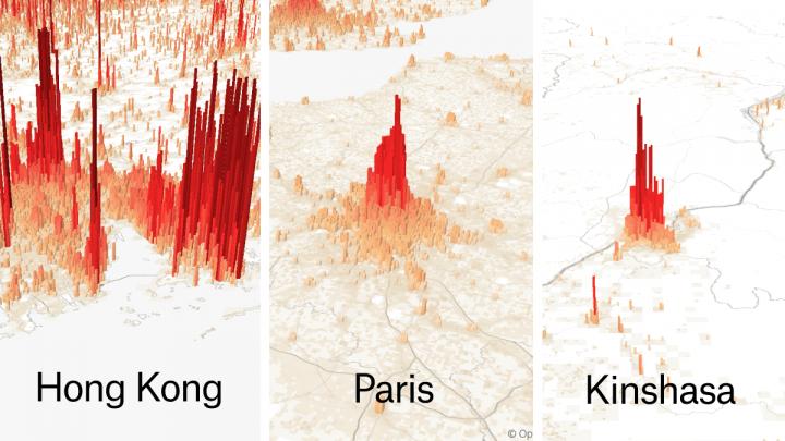 世界の人口分布を3Dで視覚化してみるとどうなる? 都市人口を棒グラフ化した「Population Mountains」が公開