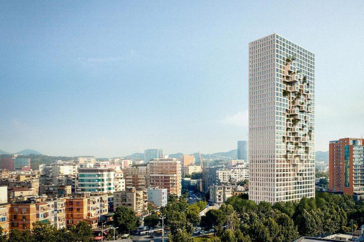 """MVRDVが手がけるアルバニアの""""地図""""を表現した ピクセル状タワー「Downtown One」"""