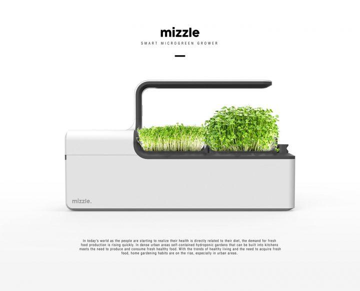発芽・育成・収穫をローテーションで楽しむ スマートな水耕栽培キッチン家電「Mizzle」
