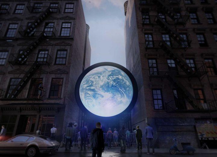 アーティスト セバスチャン・エラスリスによる 地球のリアルタイム画像を投影する巨大インスタレーション …