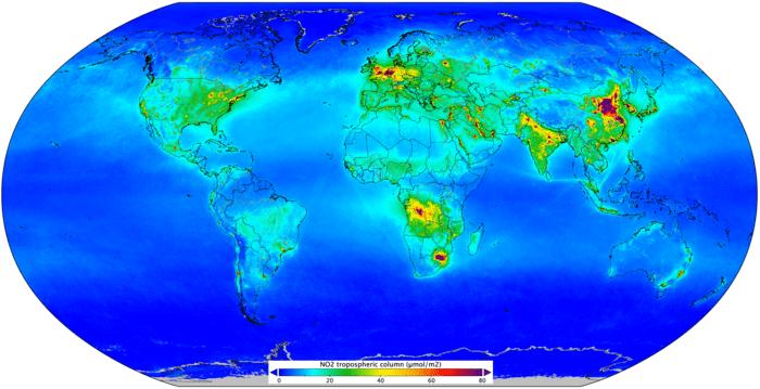欧州宇宙機関が「二酸化窒素マップ」を公開 世界中の大気汚染状況をビジュアライズ