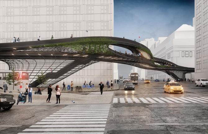 建築スタジオ DXA studioによる「Midtown Viaduct」 ニューヨークの交通渋滞を緩和する歩道橋の設計案