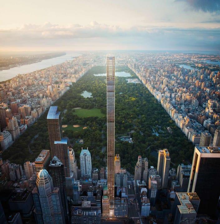 セントラルパーク脇の住宅タワー「111 West 57th Street」 建築要件を大胆に解釈した羽根のようなデザイン