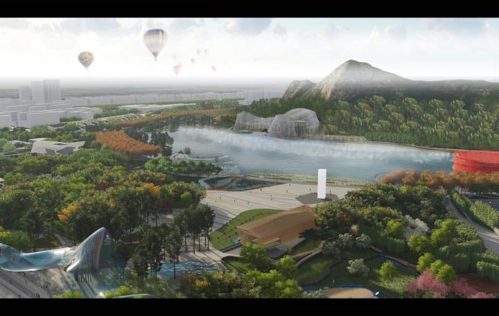 蘇州市で計画中の「Shishan Park Rollercoaster Aviary」 ジェットコースター施設に網をかけて野生動物を…