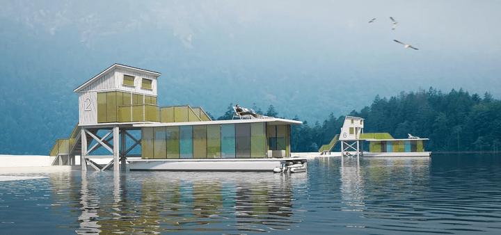 船舶デザイナーMax Zhivovの最新プロジェクト カラフルなハウスボート「Tiny eco hotel」