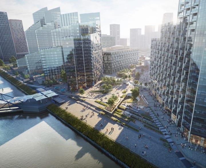 テムズ河岸の全長5kmの公共スペース「The Tide」 高架式庭園も楽しめる多層的な設計