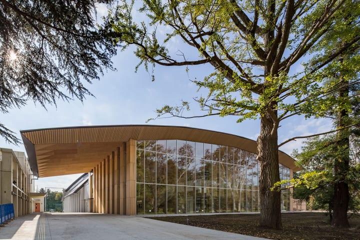 隈研吾建築都市設計事務所による 木でできた優しく柔らかなICUの体育館