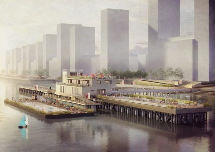 テムズ川に人工の島とプールを浮かべる 遊び心あふれるプロジェクト「Thames Baths」
