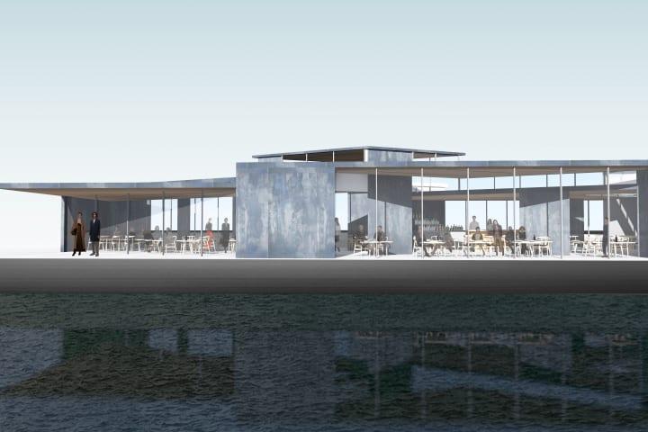 アムステルダムの新興地区「NDSM」のハーバーに浮かぶ 彫刻作品にヒントを得た建築「Floating Pavilion」