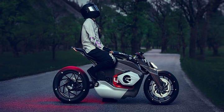 電動バイク「BMW Motorrad Vision DC Roadster」が公開 BMWモトラッド伝統の水平対向2気筒エンジンの外観…