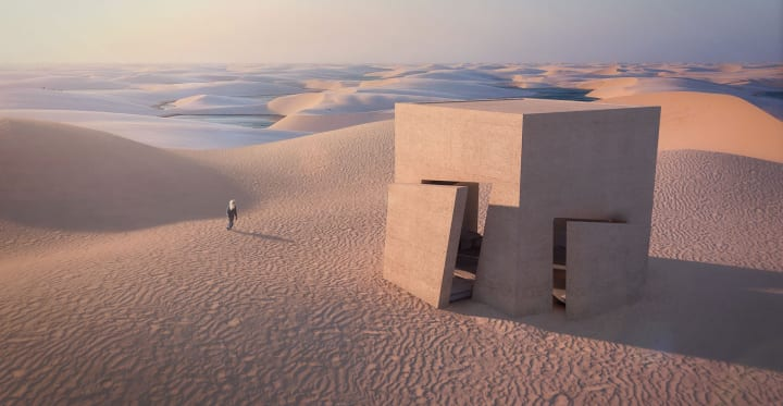 Christophe Benichou Architectureによる 砂漠にぽつんと立つ建築案「Sesame」