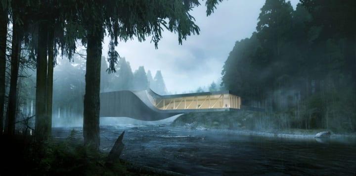 BIGが設計するノルウェー Kistefos Museumにかかる橋 ひねりを加えた構造で内部をギャラリーに