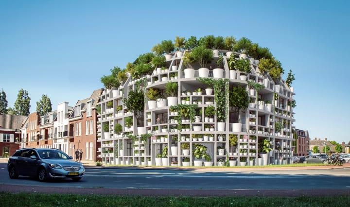MVRDVがオランダで手がける「Green Villa」 外装を植物用ラックにして緑のファサードを構築