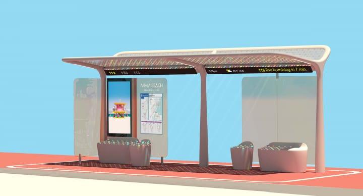 ピニンファリーナがマイアミビーチ市のためにデザインしたバス停 「Pininfarina Bus Shelters」がレッド・…