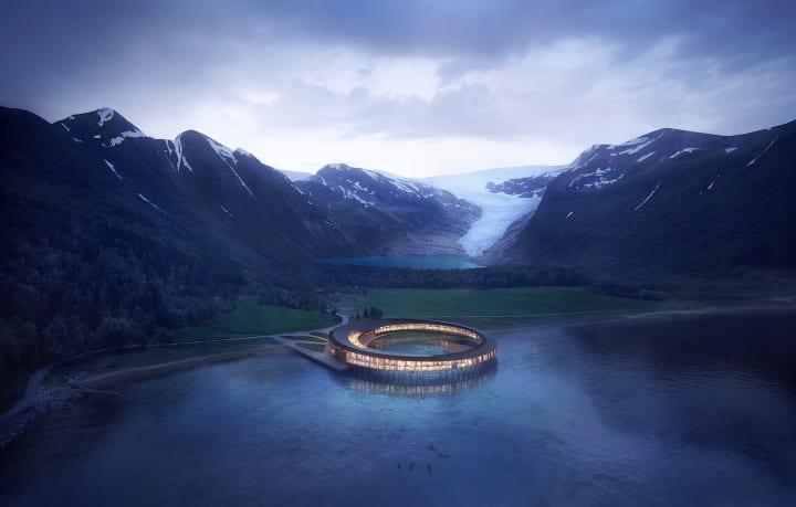 スノヘッタがつくり出す、自然と一体となったホテル。氷河やオーロラに囲まれ、木の上で孤独を楽しむために