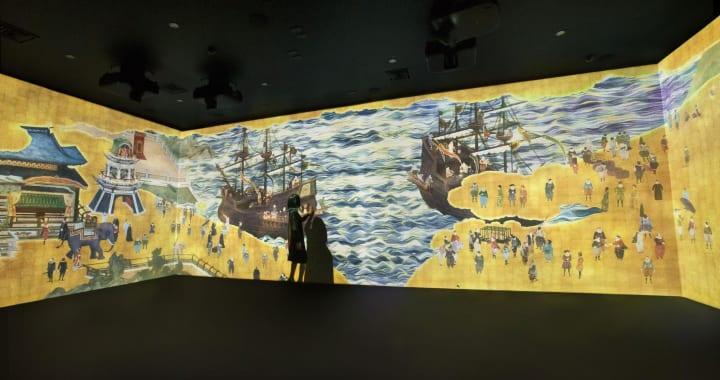 チームラボが長崎県・大村市歴史資料館で インタラクティブ作品「南蛮屏風図 天正遣欧少年使節」を常設展示
