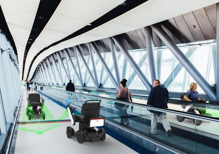 羽田空港で次世代型電動車椅子の試験走行を実施 歩道・室内領域のための「WHILL自動運転システム」を採用