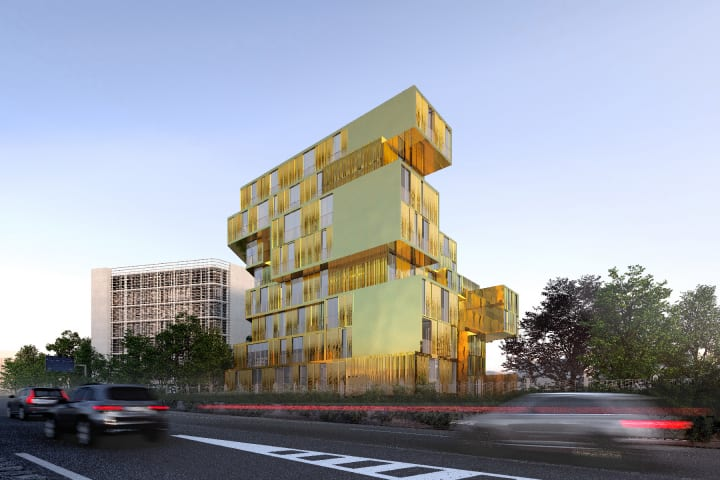 パリ国際大学都市にゴールドの「エジプト館」が新設 古代エジプト42州を体現するブロックを重ねた設計