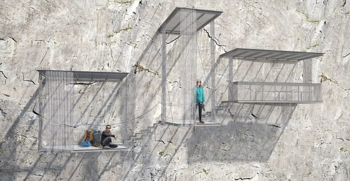 Christophe Benichouによる建築プロジェクト ヴェルドン渓谷の登山者用休憩スペース「Verdon balconies」