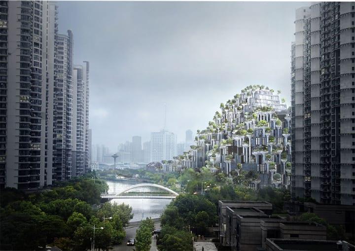 中国・上海の建築プロジェクト「1000 Trees」 Heatherwick Studioによる山が波打つようなデザイン