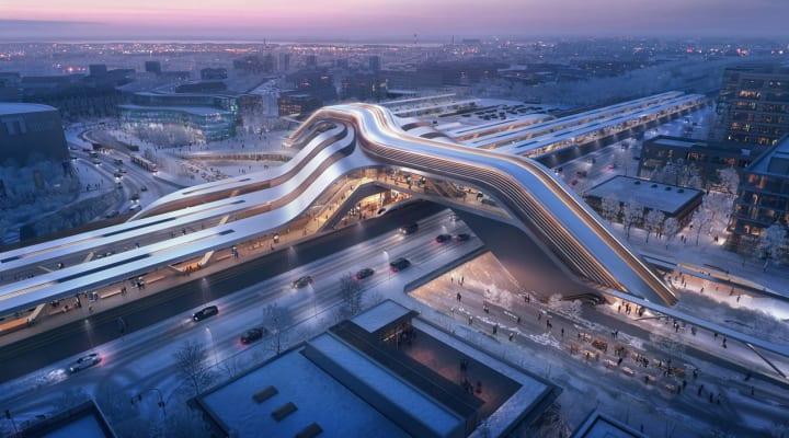 エストニア「レール・バルティカ」計画の新ターミナル駅コンペ Zaha Hadid Architectsらの設計案が勝利