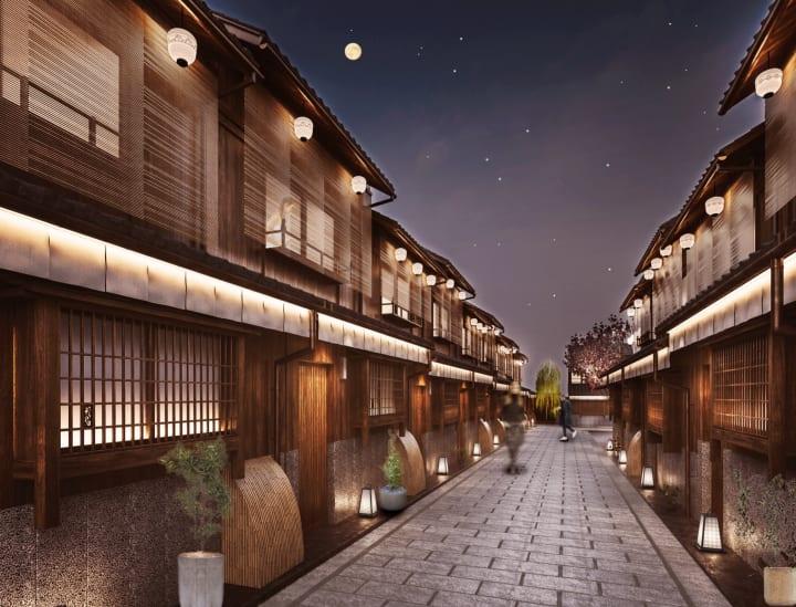 築110年以上の町家が立ち並ぶL字型の路地一体を 1つの宿に改修した旅館「Nazuna 京都 椿通」がオープン