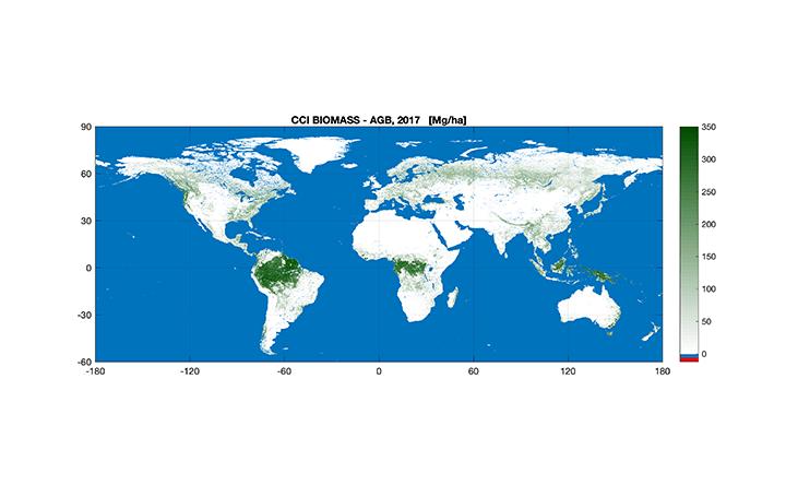 ESAが世界初の「バイオマス地図」を発表 世界の森林に蓄積されたCO2の変化を数値化