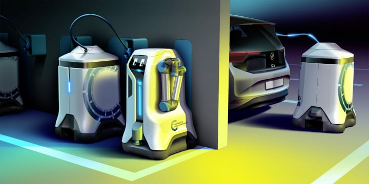 地下駐車場に停めたEVをロボットが自動で充電 フォルクスワーゲンが次世代充電コンセプトを発表