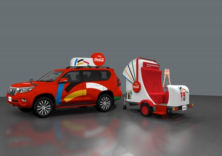 チームコカ・コーラがオリンピック聖火リレーを応援 聖火ランナーとともに走行する特別車両を公開