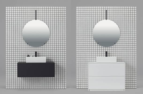 サンワカンパニーから洗面下台「リクレール」登場 最小限の線と面で構成したミニマルデザイン