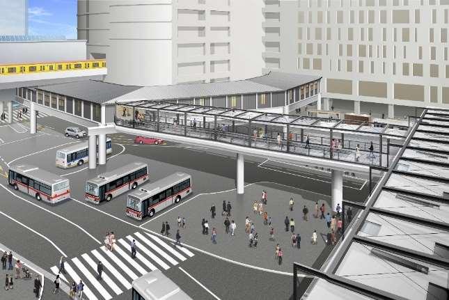 渋谷駅西口の新たな歩行者デッキが2020年7月に供用開始 利便性の高い仮設歩行者ネットワークを構築