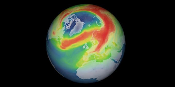 北極圏上空にオゾン「ミニホール」が出現、 欧州宇宙機関が発表