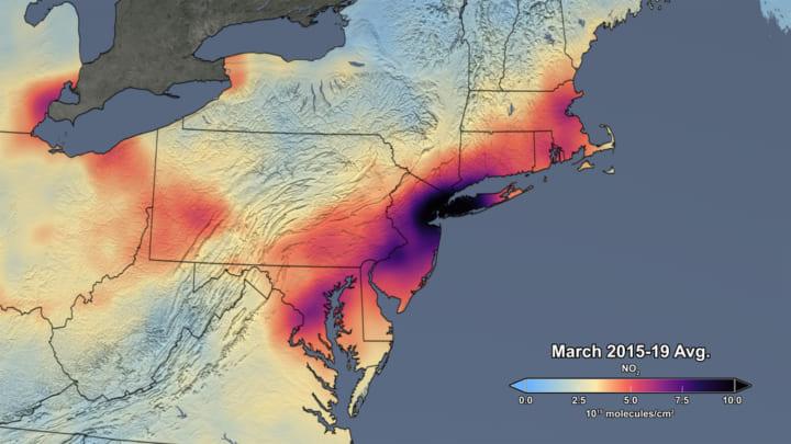 新型コロナウイルスにおける環境の変化 アメリカ北東部で大気汚染が大幅に低下