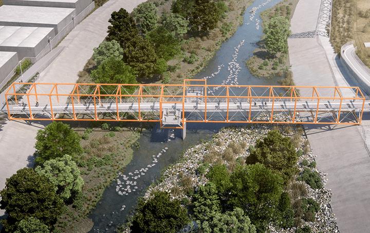 ロサンゼルス川の歴史を乗り越えて 地域の新しいアイデンティティ橋「Rumblefish」が建設