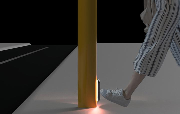 手の接触を減らす、足で歩行者横断ボタンを押す オーストラリアデザイン集団が提案するキックする「Dropki…